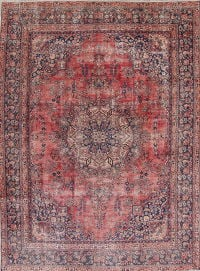 Traditional Floral Mashad Persian Hand-Knotted 9x12 Wool Area Rug