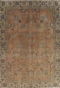 All-Over Floral Tabriz Persian Hand-Knotted 9x13 Wool Area Rug