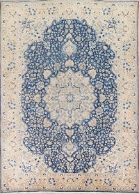 Floral Blue Gold Tabriz Persian Hand-Knotted 8x12 Wool Area Rug