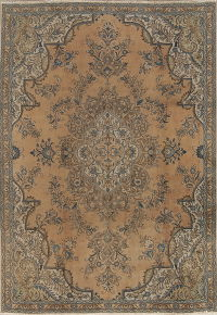 Floral Brown Tabriz Persian Hand-Knotted 7x10 Wool Area Rug