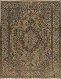 Floral Muted Brown Tabriz Persian 8x10 Wool Area Rug