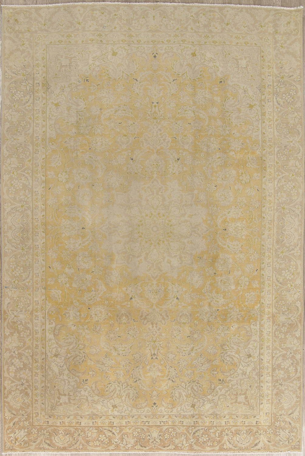 Muted Tabriz Distressed Persian Area Rug Wool 7x11 image 1