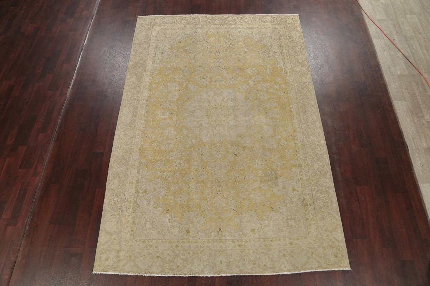 Muted Tabriz Distressed Persian Area Rug Wool 7x11 image 2
