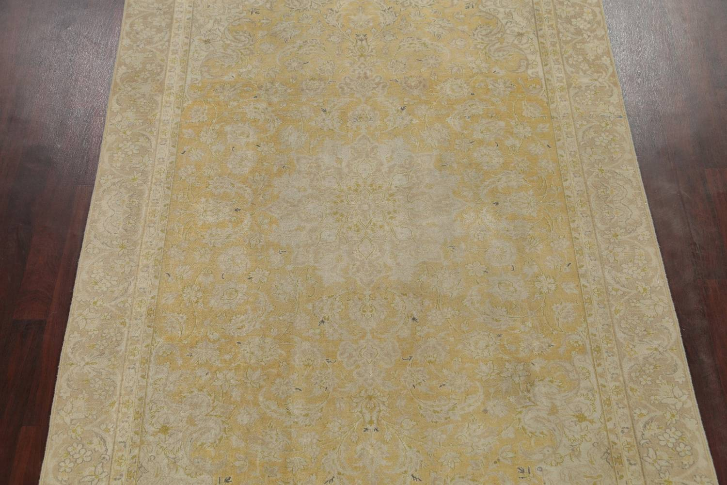 Muted Tabriz Distressed Persian Area Rug Wool 7x11 image 3