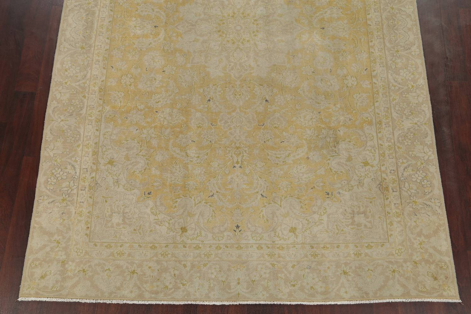 Muted Tabriz Distressed Persian Area Rug Wool 7x11 image 5
