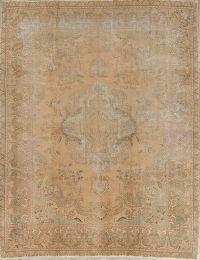 Antique Muted Tabriz Persian Handmade 10x12 Wool Distressed Rug