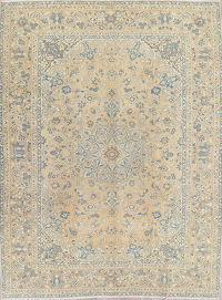 Muted Kashan Persian Hand-Knotted 10x13 Wool Distressed Area Rug