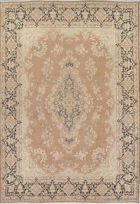 Floral Brown Kerman Persian Hand-Knotted 10x14 Wool Area Rug