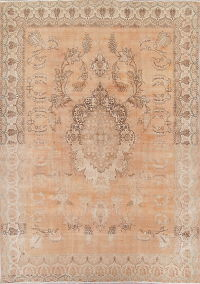 Muted Tabriz Persian Hand-Knotted 10x14 Wool Distressed Area Rug