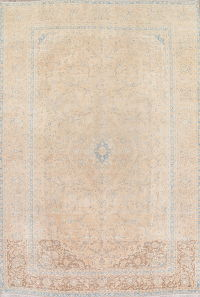 Beige and Blue Muted Kashan Persian 10x14 Wool Distressed Rug
