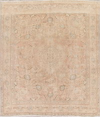 Muted Tabriz Persian Hand-Knotted 9x11 Wool Distressed Area Rug