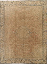 Muted Kerman Persian Hand-Knotted 10x12 Wool Distressed Area Rug