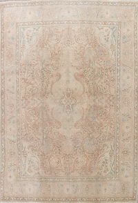 Muted Tabriz Persian Hand-Knotted 9x13 Wool Distressed Area Rug