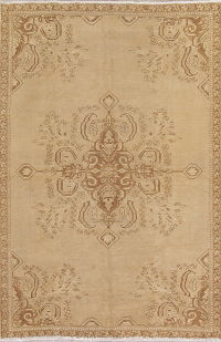 Geometric Brown Ferdos Persian Hand-Knotted 6x8 Wool Area Rug