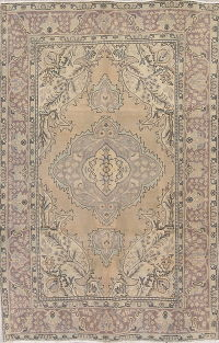 Geometric Brown Tabriz Persian Hand-Knotted 6x10 Wool Area Rug
