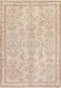 Beige Gold Muted Ferdos Persian Hand-Knotted 7x10 Wool Area Rug