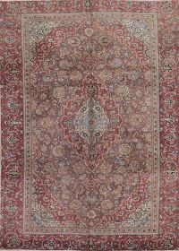 Pale Purple Mauve Floral Kashan Persian Hand-Knotted 7x10 Wool Area Rug
