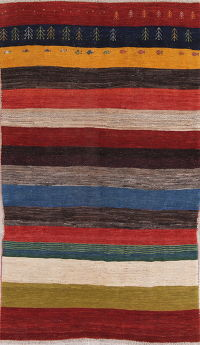 Stripe Multi-Colored Gabbeh Persian Hand-Knotted 6x9 Wool Area Rug
