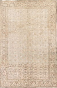 Muted Tabriz Persian 6x8 Wool Distressed Area Rug