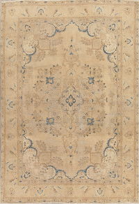 Muted Tabriz Persian Wool Distressed Area Rug 6x9