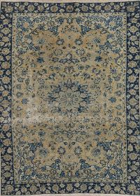 Muted Najafabad Persian Hand-Knotted 7x9 Wool Distressed Area Rug