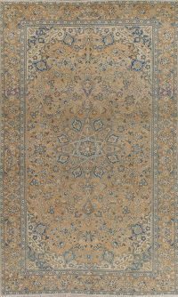Muted Kashan Persian Hand-Knotted 6x10 Wool Distressed Area Rug