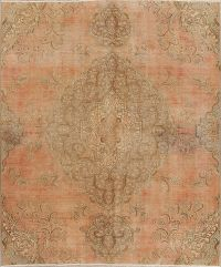 Muted Tabriz Persian Hand-Knotted 7x9 Wool Distressed Area Rug