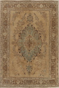 Muted Tabriz Persian Hand-Knotted 7x10 Wool Distressed Area Rug