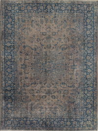 Over-dye Tabriz Persian Hand-Knotted 9x12 Wool Distressed Area Rug