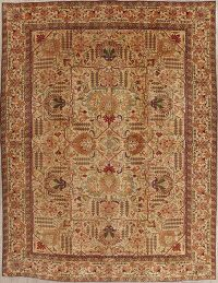 Floral Tabriz Persian Hand-Knotted 10x13 Wool Area Rug