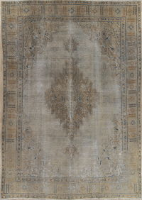 Antique Muted Tabriz Persian Hand-Knotted 9x13 Distressed Rug