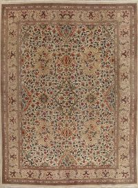 Vintage Muted Tabriz Persian Hand-Knotted 10x13 Wool Area Rug