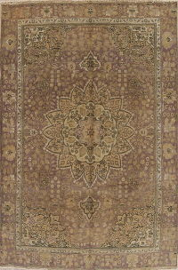 Muted Pale Mauve Purple Tabriz Persian 6x9 Distressed Area Rug