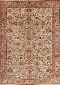 Muted Tabriz Persian Hand-Knotted 8x11 Wool Area Rug