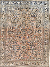 Muted Hamedan Persian Hand-Knotted 8x11 Wool Distressed Area Rug