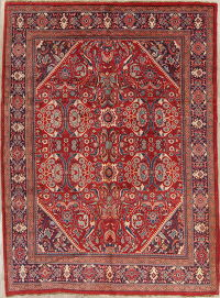 Floral Red Mahal Persian Hand-Knotted 8x11 Wool Area Rug
