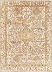 Geometric Ivory Ferdos Persian Hand-Knotted 8x11 Wool Area Rug