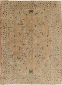 Muted Tabriz Persian Hand-Knotted 8x11 Wool Distressed Area Rug
