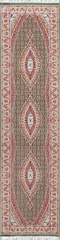 Geometric Green Tabriz Persian Runner Rug