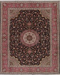 Floral Black Tabriz Persian Hand-Knotted 10x13 Wool Silk Rug