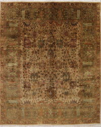 Muted Beige Agra Indian Oriental Hand-Knotted 8x10 Wool Area Rug