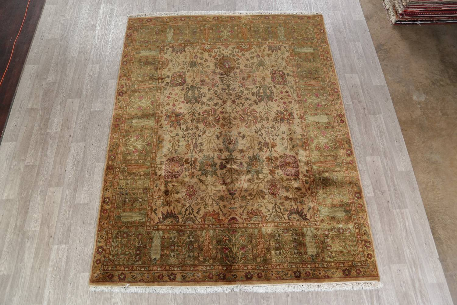 Muted Beige Agra Indian Oriental Hand Knotted 8x10 Wool