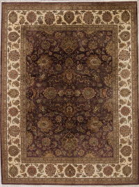 Floral Agra Indian Oriental Hand-Knotted 9x12 Wool Area Rug