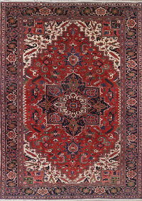 Vegetable Dye Heriz Serapi Persian Hand-Knotted 10x15 Wool Rug