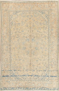 Muted Kashan Persian Hand-Knotted 7x11 Wool Distressed Area Rug