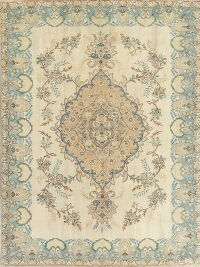 Muted Tabriz Persian Hand-Knotted 8x10 Wool Area Rug