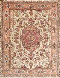 Floral Muted Kashmar Persian Hand-Knotted 10x12 Wool Area Rug