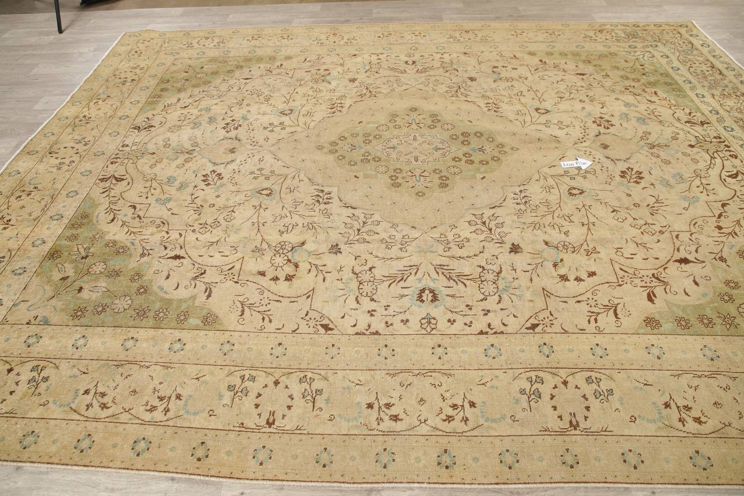 Muted Tabriz Persian Hand-Knotted 10x12 Wool Distressed Area Rug image 10