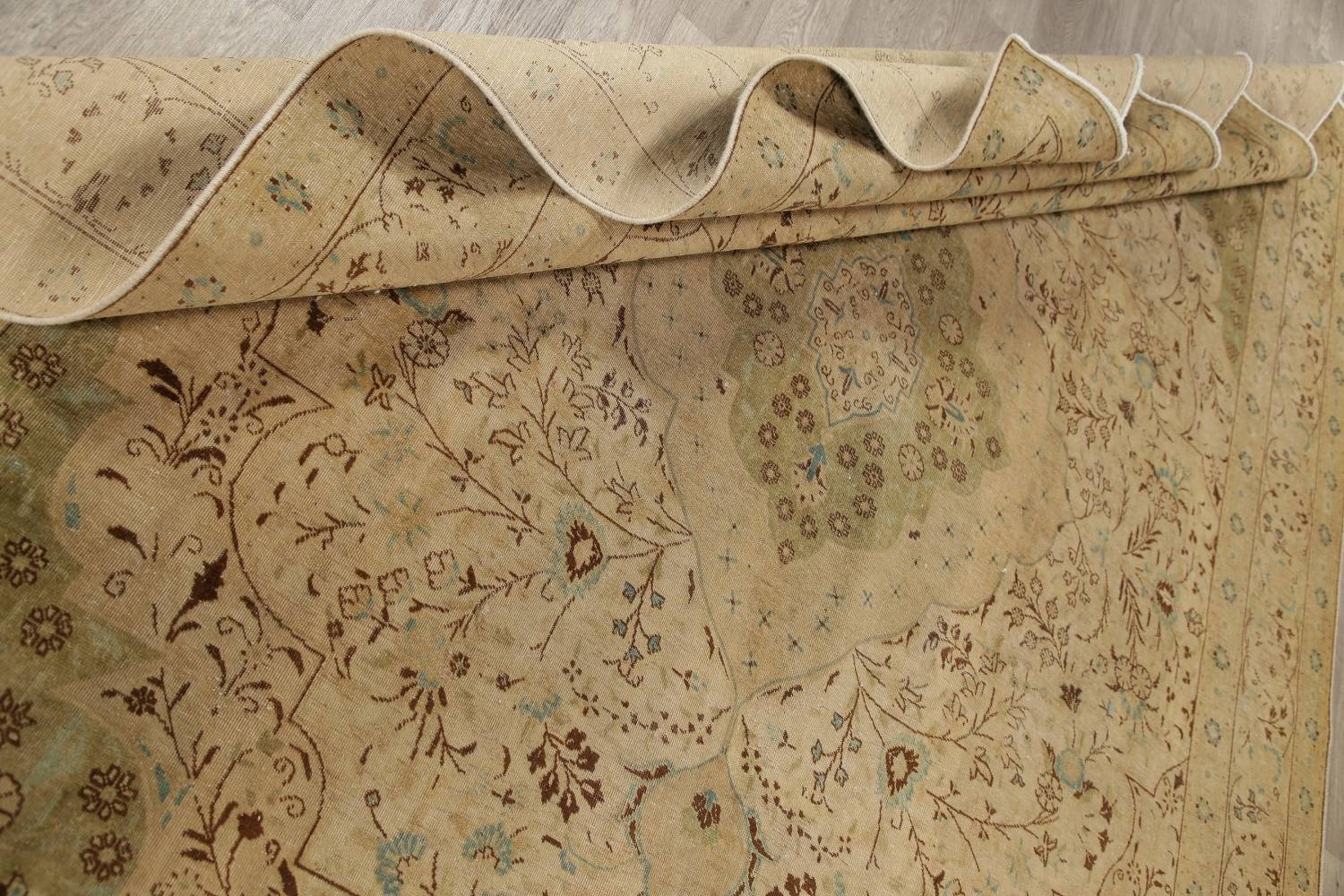 Muted Tabriz Persian Hand-Knotted 10x12 Wool Distressed Area Rug image 16