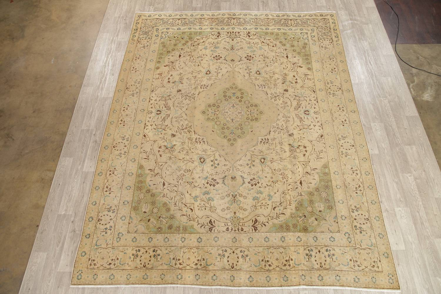 Muted Tabriz Persian Hand-Knotted 10x12 Wool Distressed Area Rug image 2
